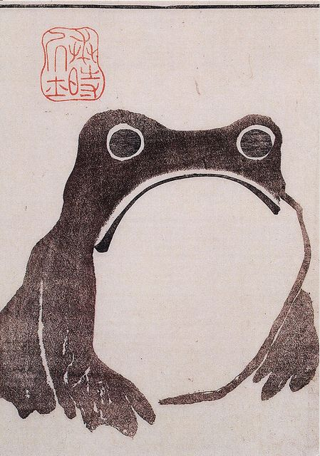 "'Frog' by Japanese artist Matsumoto Hoji from ""Meika Gafu"" (1814). Coloured ink on paper,"