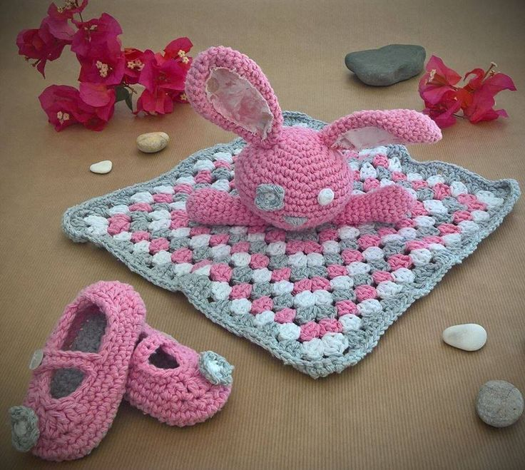 Baby pink bunny security blanket and Mary Jane shoes