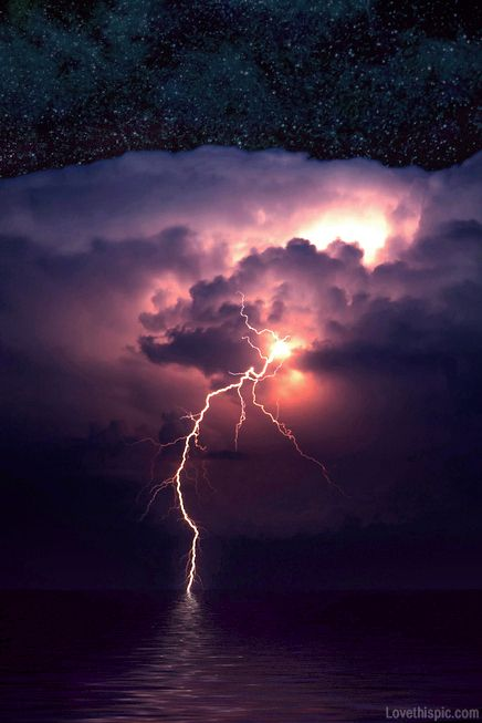 Strike of lightning photography storm sky night water clouds stars purple