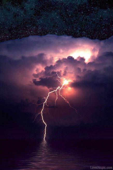 Strike of lightning photography storm sky night water clouds stars purple