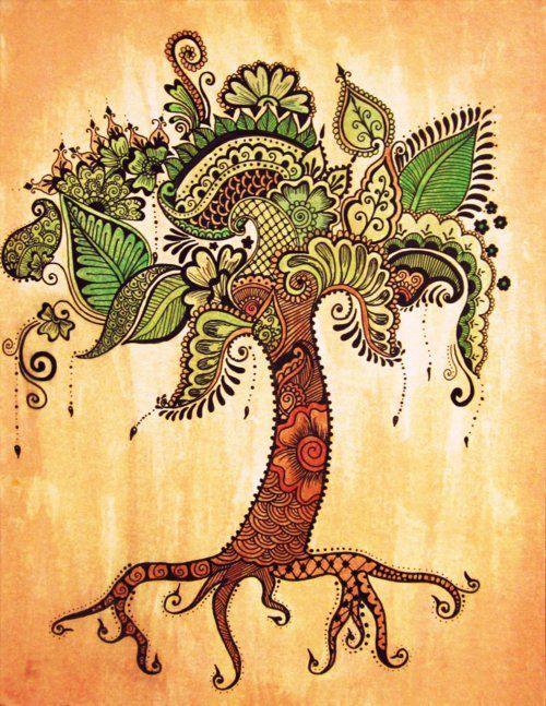Green Life green brown orange tree organic zentangle