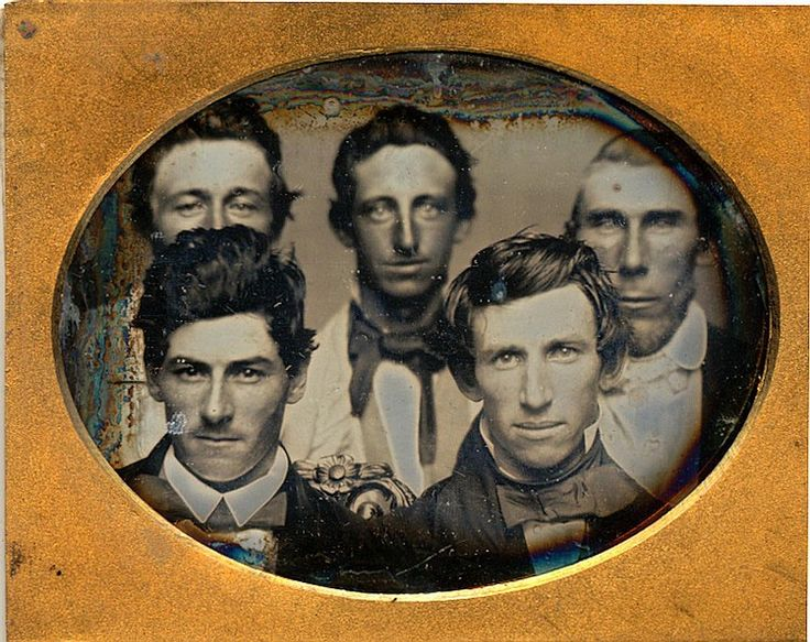 ca. 1850s, [crowded, daguerreotype portrait of five men], Pliny Bartlett via Be-Hold #58, from Invaluable Auctions
