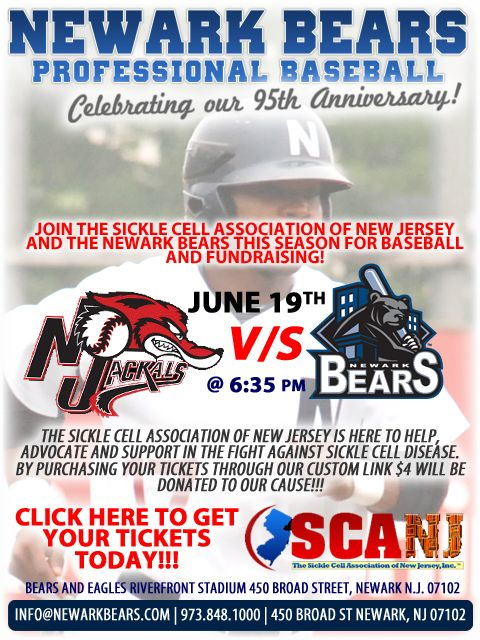 The Sickle Cell Association of New Jersey and the Newark Bears team up on World Sickle Cell Disease Day (June 19th) to raise funds for SCANJ.
