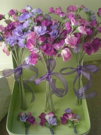 Sweetpea bouquets and buttonholes ... For a Wedding Bouquet Guide ... https://itunes.apple.com/us/app/the-gold-wedding-planner/id498112599?ls=1=8  ... The Gold Wedding Planner iPhone App.