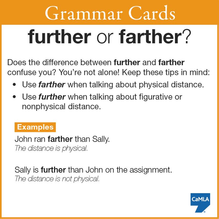 Do you know the difference between further and farther? Perhaps this grammar card can help!