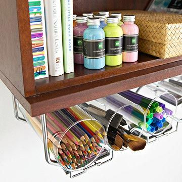Organize with a Wine Rack - An under-the-shelf wine and stemware rack blends style and function and utilizes otherwise overlooked space. Glass cylinder hold pencils, markers, pens, and brushes, while ink pads can be stashed on the stemware rack.
