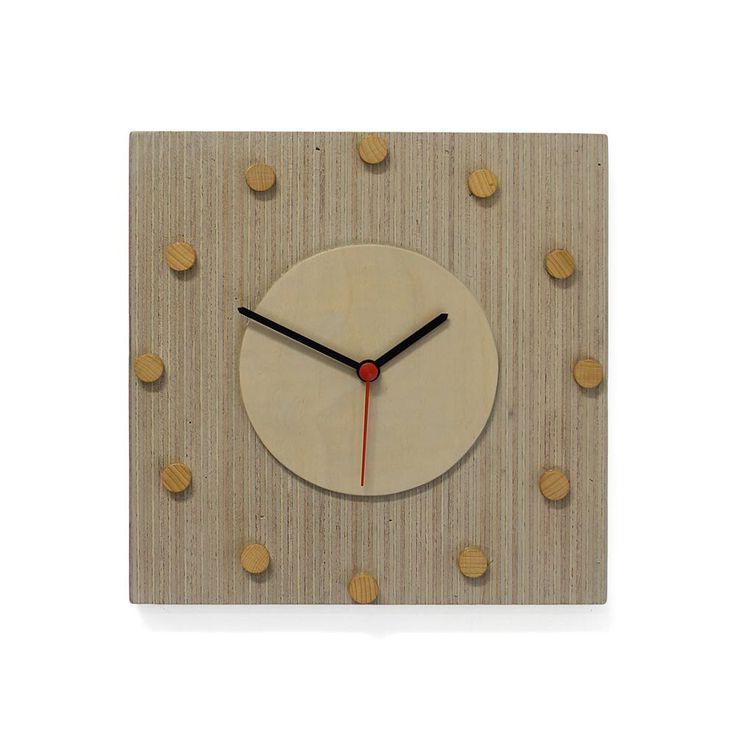 Grey clock with wooden discs by SandraCatsburg on Etsy https://www.etsy.com/listing/211517622/grey-clock-with-wooden-discs