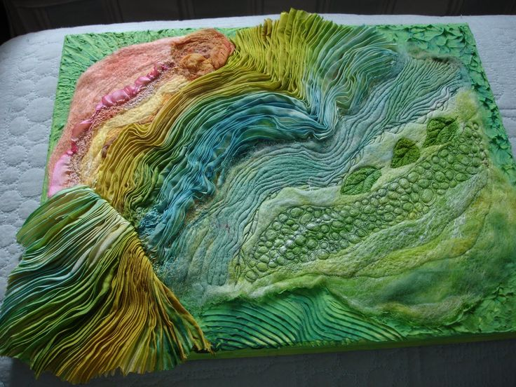 Margo Duke: Shibori Borealis Shibori Borealis  Another mixed media piece for the gallery in Gettysburg this weekend - pleated silk shibori with needle-felted backbround mounted on to textured/painted surface.