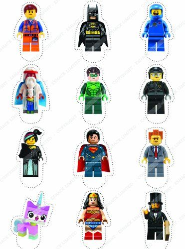 Cakeshop 12 x PRE-CUT Lego Movie Stand Up Edible Cake Toppers Cakeshop http://www.amazon.com/dp/B00J9P80SQ/ref=cm_sw_r_pi_dp_0VuJtb13N3CEB2CX