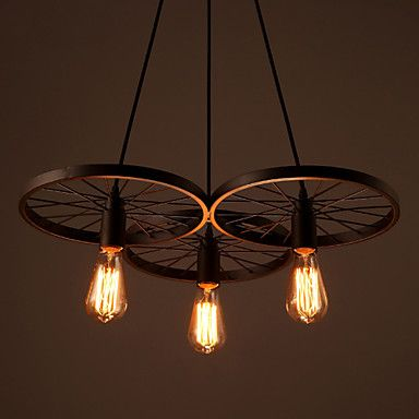 Loft Retro Restaurant Bar Pendant Lamps American country wrought iron chandeliers industrial style wheels - USD $ 104.39
