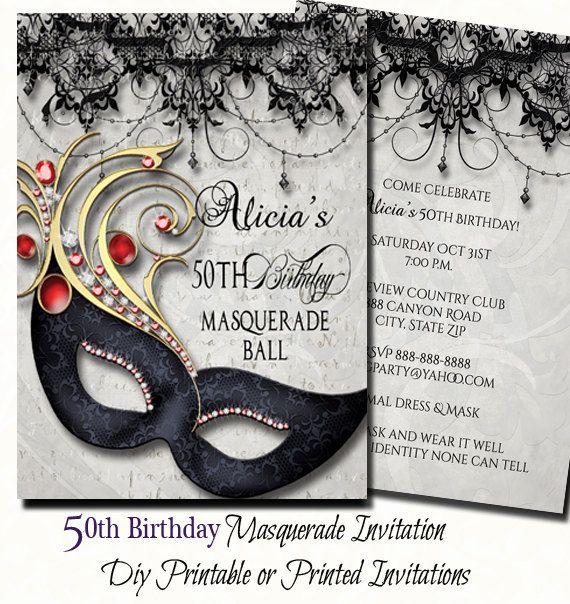 50th Birthday Masquerade Party Invitation Shell fall in love with our 50th Birthday masquerade party invitations. Perfect for the 50th birthday