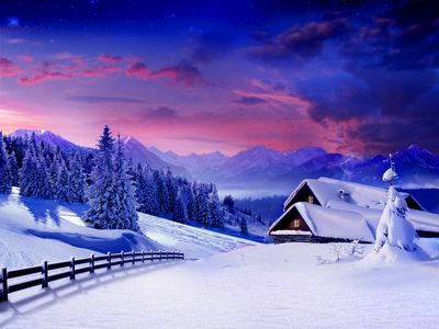 Mountain Cabins Winter wallpaper