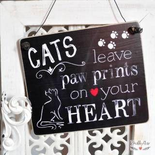 shabbyflair Dekoschild aus Holz CATS LEAVE PAWPRINTS ON YOUR HEART