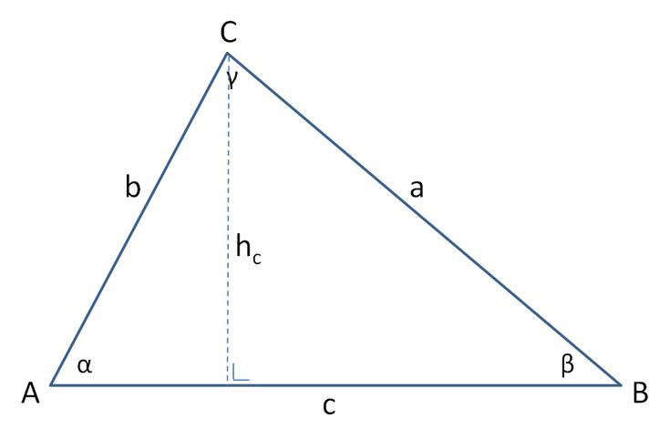 Driehoek berekenen - Bereken de zijden, hoeken, oppervlakte en omtrek van een driehoek