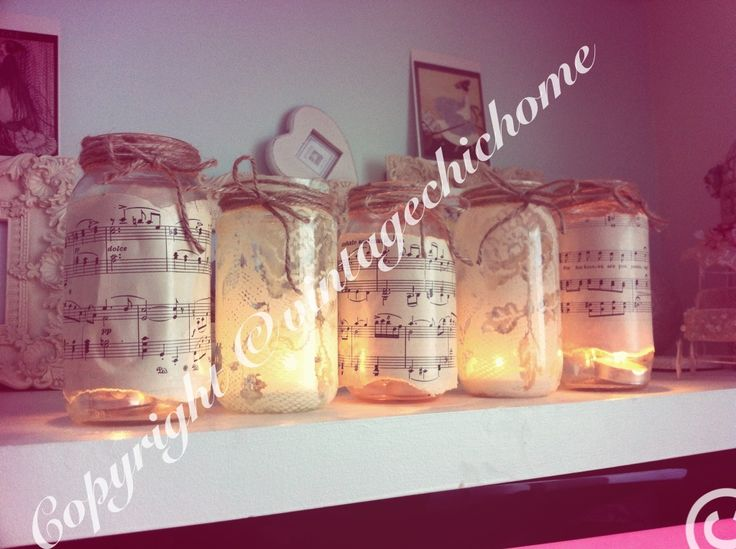 Shabby chic lights mason jam jars with decoupage old music paper and lace  Www.vintagechichome.co.uk www.facebook.com/VintageChicHomeShabbyChicFurniture Twitter - @Vintage Chic Home www.tumblr.com/blog/vintagechichomeuk Google plus - vintagechichomefurniture  Instagram - Vintage Chic Home