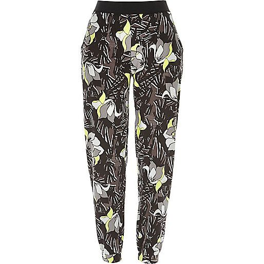 Green floral print jersey joggers - cropped trousers / joggers - trousers - women