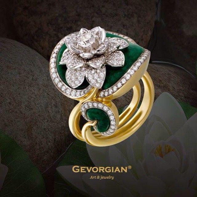 """Кольцо """"Водяная лилия"""". #Gevorgian #лилия #jewelry #ring #кольцо #gemstone…"""