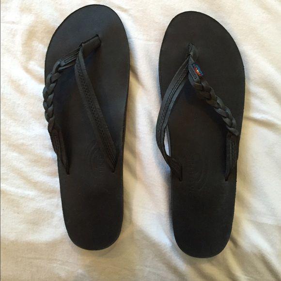 Rainbow flipflops Black, never been worn, rainbow sandals, size L (8-9) Rainbow Shoes Sandals