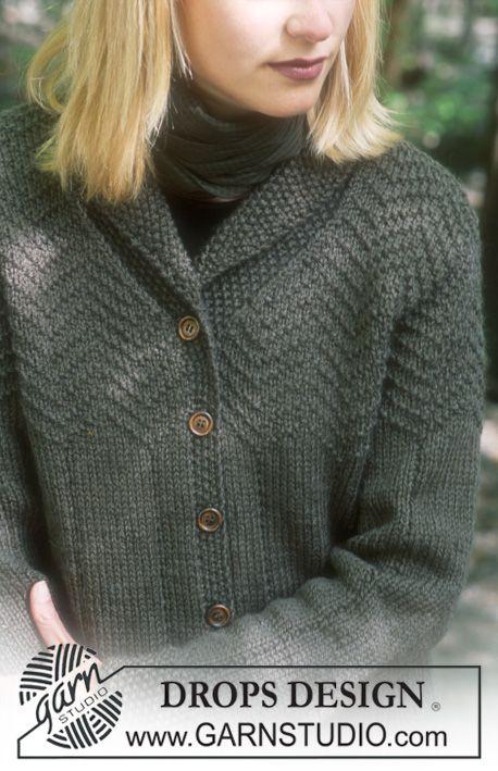 """DROPS vest met zigzag patroon en sjaalkraag van """"Alaska"""". Maat XS - XL ~ DROPS Design"""