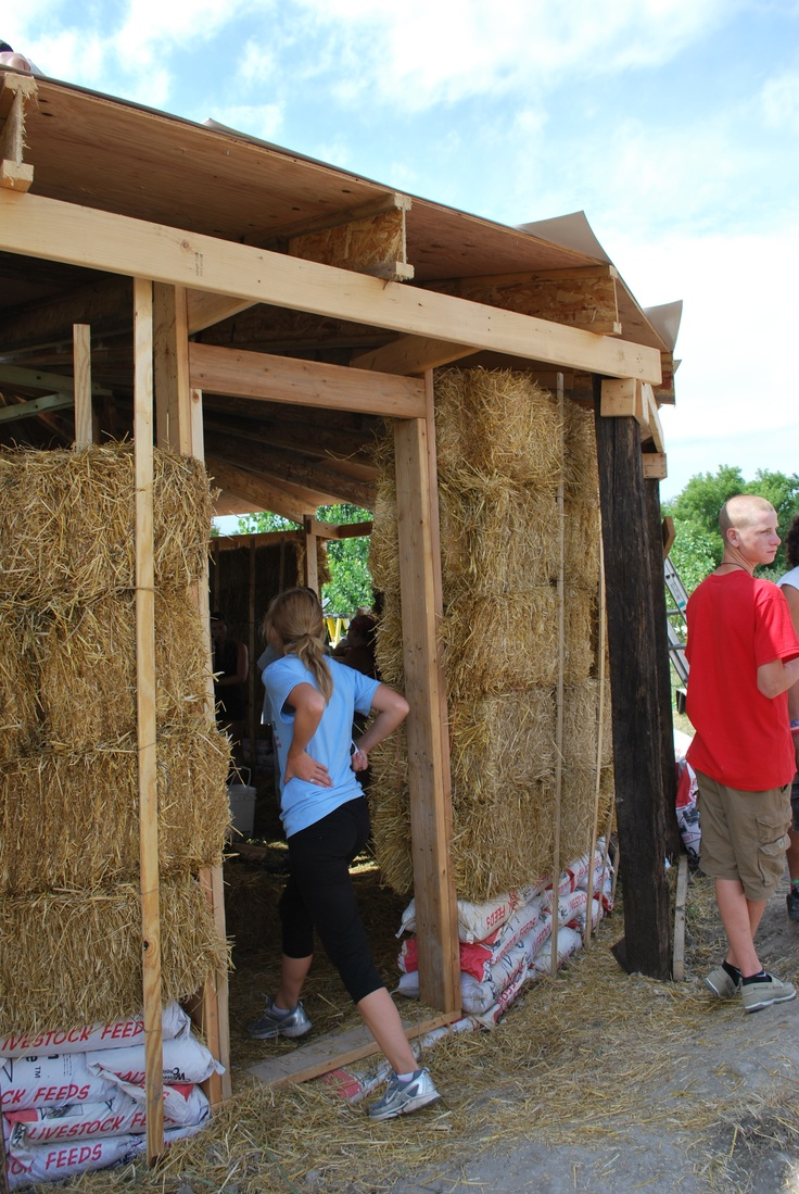 Energy efficient house made of hay bales