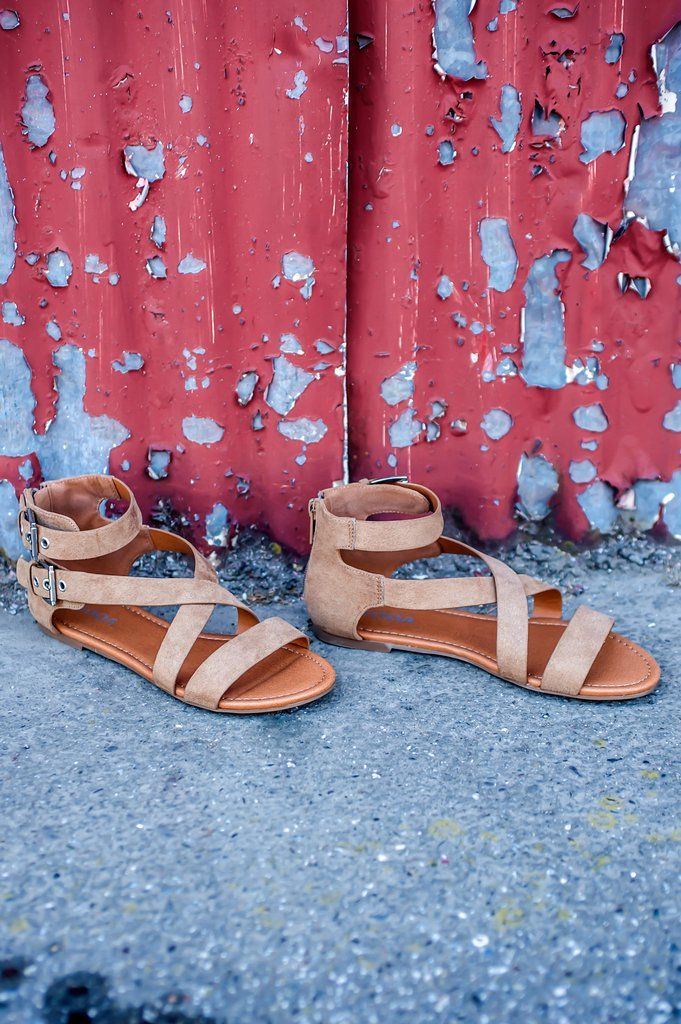 a8f08e961a2877 Boardwalk Bound Sandal  26.99 - Women s Faux Suede Taupe Leather Strappy  Ankle Strap Open Toe Summer Sandals