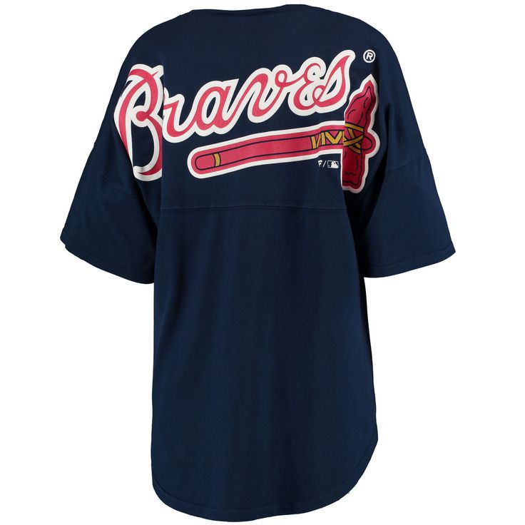 Women's Atlanta Braves Navy Oversized Spirit Jersey V-Neck T-Shirt