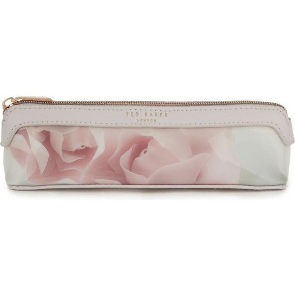 TED BAKER Kelssa Porcelain rose pencil case (£22) ❤ liked on Polyvore featuring home, home decor, office accessories, nude pink, pink pencil case, ted baker, pink office accessories and pink pencil pouch