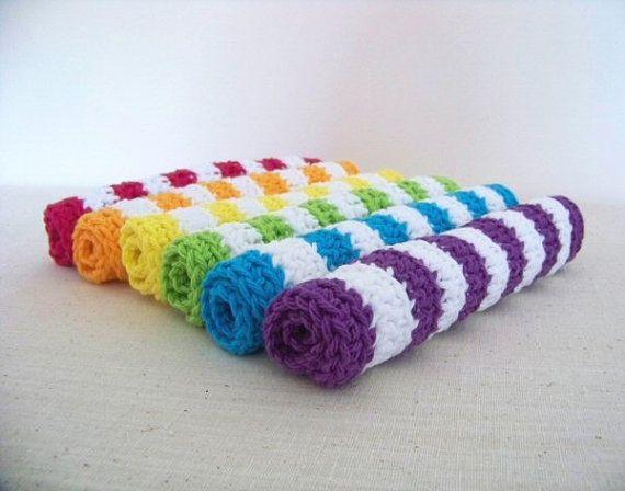Rainbow+Wash+Cloth+Set++Crocheted+Dish+by+WrensNestCreations,+$21.50