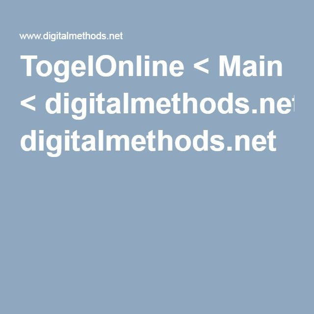 TogelOnline < Main < digitalmethods.net