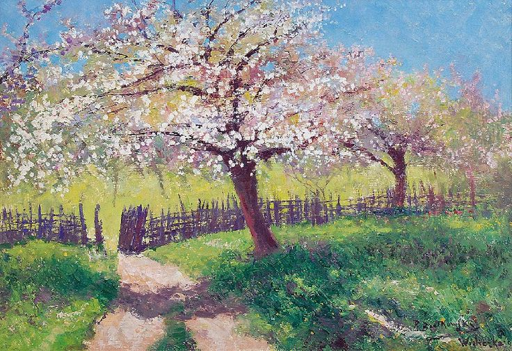 Roman BRATKOWSKI (1869-1954)  Kwitnące jabłonie, 1943