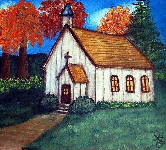 Image result for how to paint a church scene in acrylics