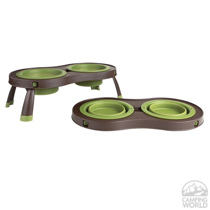 Collapsible Pet Feeder, Double Bowl - Dexas PW1104765757 - Pet Bowls & Feeders - Camping World