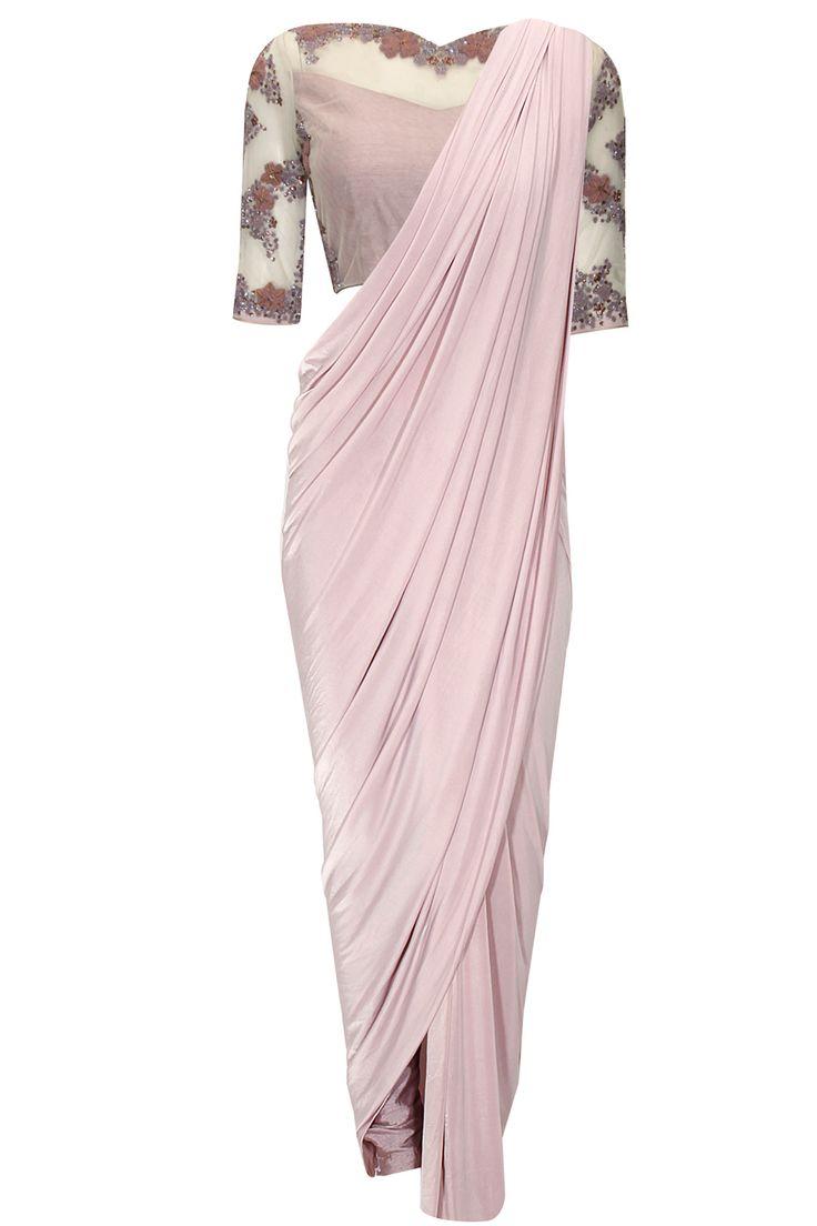Mauve beaded three piece wrap sari set available only at Pernia's Pop-Up Shop.