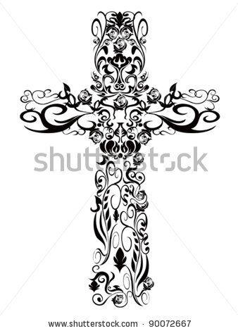 Christian pattern Cross decoration Design - stock vector