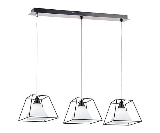 Suspension larry m tal et verre noir et blanc l72 for Suspension metal noir