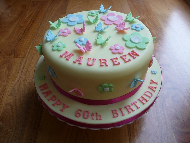 Butterflies and Flowers 60th Birthday Cake by Susie 99, via Flickr