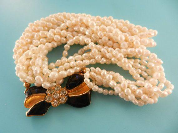 Vintage 6 Strand genuine Freshwater Pearl Necklace by RAKcreations