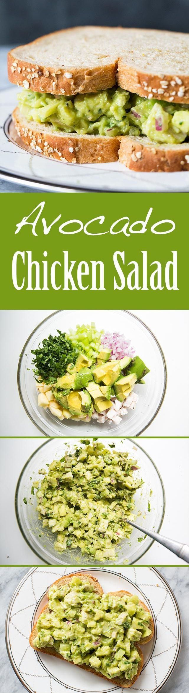 EASY and Healthy! Avocado chicken salad with avocado, chopped cooked chicken, apple, celery, and onion. No Mayo! On SimplyRecipes.com