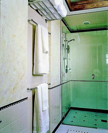 Small Bathroom 9: Walk-In Shower:  love the recessed towel bars! Adds real depth to a small bath.