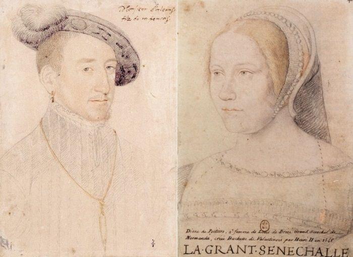http://www.kulturologia.ru/files/u19001/Diane-de-Poitiers-3.jpg Ф. Клуэ. Портреты Генриха II и Дианы де Пуатье.