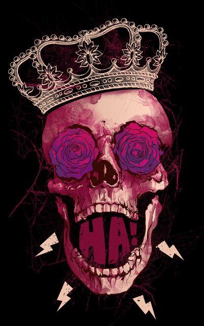 skull / crown / lightning bolts / purple / pink / magenta / fuchsia / black / maroon / burgundy / brown
