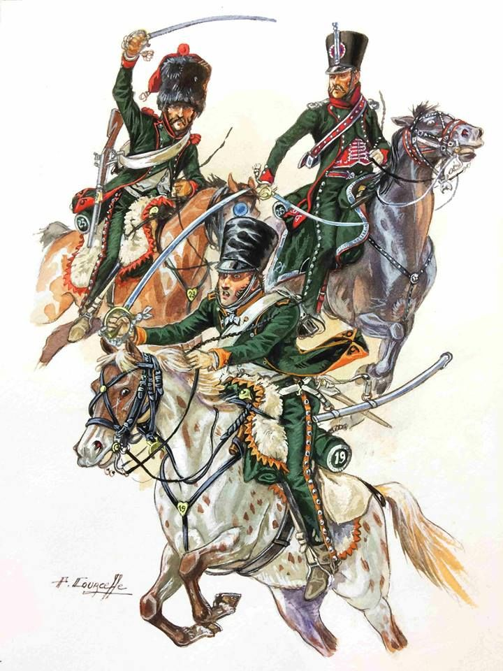 French; Chasseurs a Cheval, 19th Regt, Chasseur, 23rd Regiment, Elite Company, Chasseur, 25th regiment, Officer. Italian Campaign 1805-06 by P.Courcelle