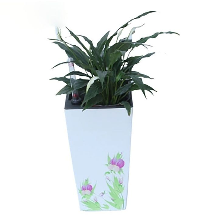 Small/Large Green/Red Plastic Printed Self-watering Flower Planter for Indoor Home Office Tabletop Desk Decor