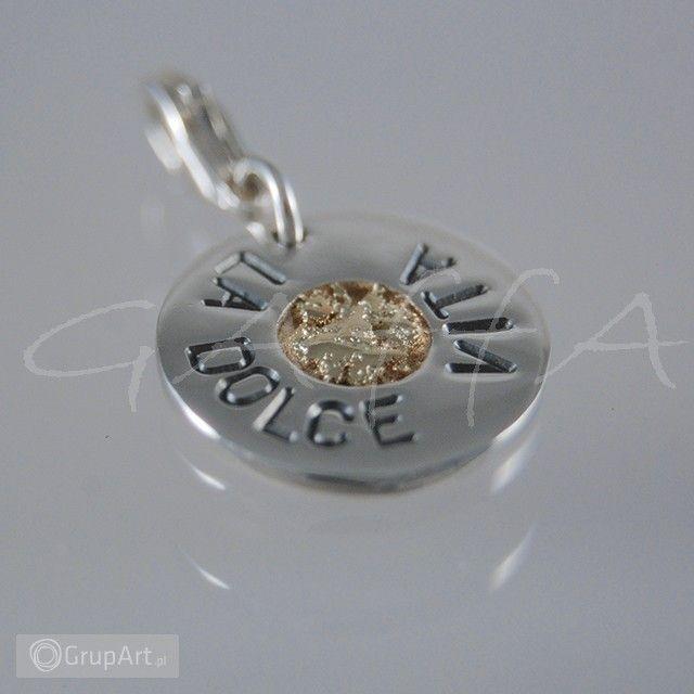 """Zawieszka srebrna - """"La Dolce Vita"""" - na łańcuszek lub jako """"charm"""" do bransoletki, wielkość ok 15.mm, gr.ok 2mm, kółeczko z wtopionym złotem - wielkość ok.5 mm, całość wykonana ręcznie w srebrze 925, złoto 585  Silver Pendant - """"La Dolce Vita"""" - on the chain or as a """"charm"""" to the bracelet.  #zawieszka #złoto #srebro #handmade #grupart #gold #silver #pendant"""