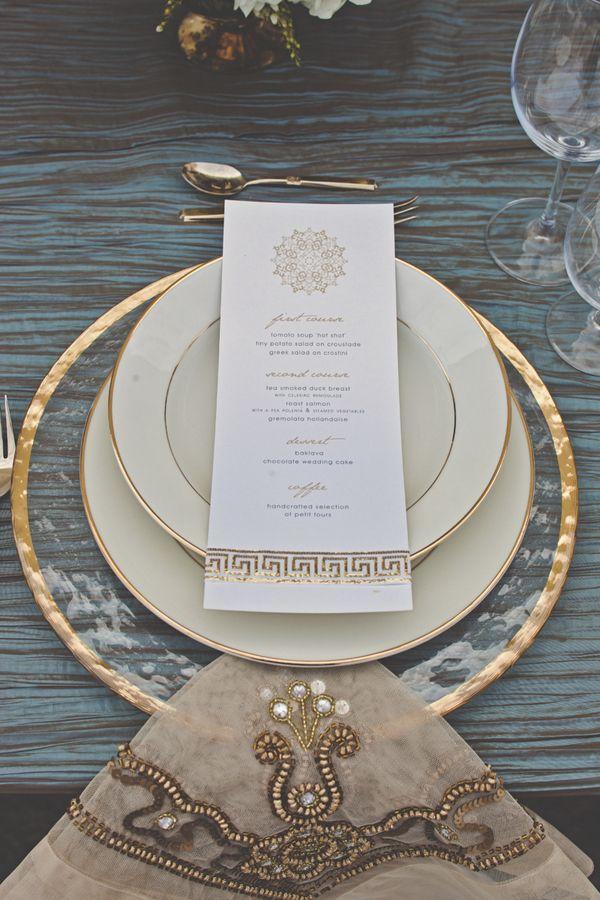 La Tavola Fine Linen Rental: Bombay Gold Napkin | Photographer: Lindsey Gomes Photography, Event Planner: Danae Grace Events, Event Designer: Bella Bloom Events