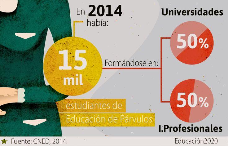 Así se distribuye la matrícula de los educadores y educadoras de párvulo en Chile.