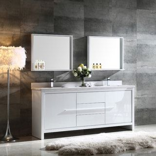 Unique Shop for Fresca Allier inch White Modern Double Sink Bathroom Vanity with Mirror