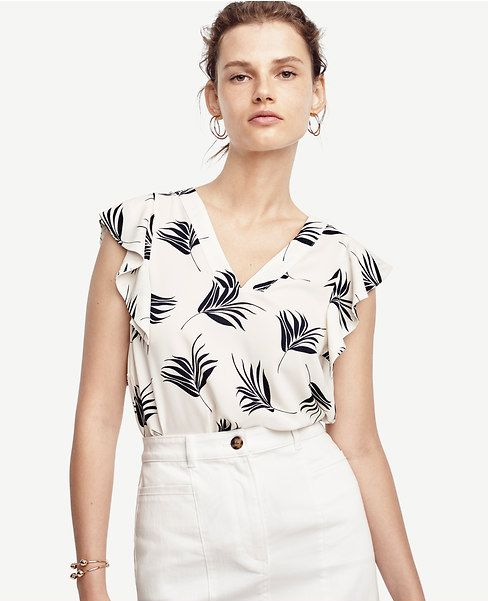 Primary Image of Palm Matte Jersey Flutter Sleeve Top