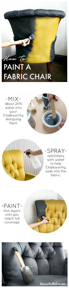 Yes, you can PAINT a fabric chair!  Easy DIY furniture makeover using /ChalkWorthy/.
