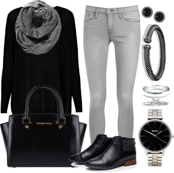Andrea Moda y Asesoría: Blusa Negra Jean Gris FW15-16